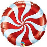 """9"""" Airfill Only Round Candy Swirl Red Balloon"""