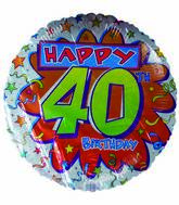 "18"" Happy 40th Birthday Streamers"