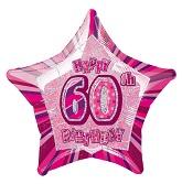 "18"" 60th Birthday Balloons Prism Pink"