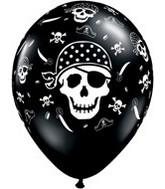 "11"" Onyx Black Pirate Skull & Cross"