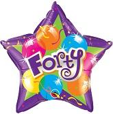 "20"" Sparkling Forty Mylar Balloon"