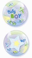 """22"""" Baby Boy Airplanes Plastic Bubble Balloons"""