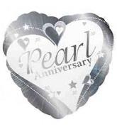 """18"""" Pearl Anniversary Silver 30th"""