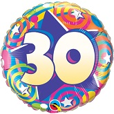 "18""  30th Birthday Stars & Swirls Balloon"