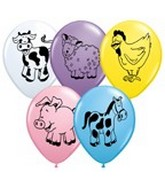 "11"" Assorted Latex Balloons Farm Animals"