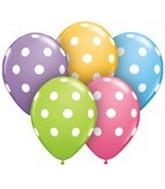 "11"" Assorted Latex Balloons Big Polka Dots 50 Count"