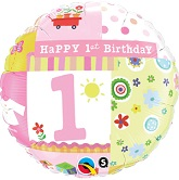 "18"" 1st Birthday Girl Balloon"