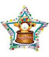 """18"""" Garfield Birthday Chocolate Cake Star"""
