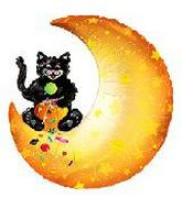 34'' Trick or Treat Cat & Moon B148