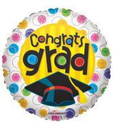 """9"""" Airfill Congrats Grad With Circles Balloon"""