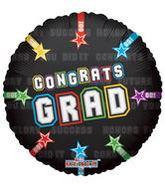 """9"""" Airfill Congrats Grad On Black Balloon"""