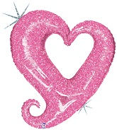 37'' Holographic Chain of Hearts Pink