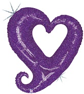 37'' Holographic Chain of Hearts Purple