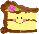 "26"" Smiley Cake Slice Shape Balloon"