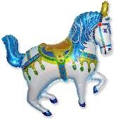 """35"""" Horse Circus Balloon Blue"""