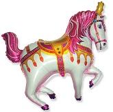 """35"""" Horse Circus Balloon Fuchsia"""