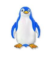 """24"""" Blue Happy Penguin Shaped Balloon"""