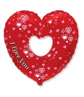 """24"""" I Love You Red Heart Shaped Pink Hearts Balloon"""