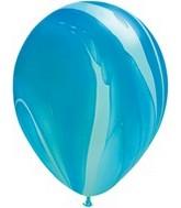 """11"""" Blue Rainbow Super Agate Latex Balloons"""