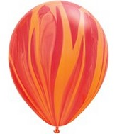 "11"" Red Orange Rainbow Super Agate Latex Balloons"