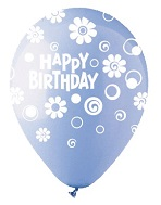 """12"""" HBD Dots & Daisies Light Blue Latex 50Count"""