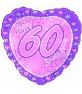 "18"" Happy 60th Birthday Pink Heart"