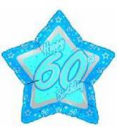 """18"""" Happy 60th Birthday Blue Star"""