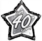 "18"" Happy Birthday 40th Black and Silver Star"