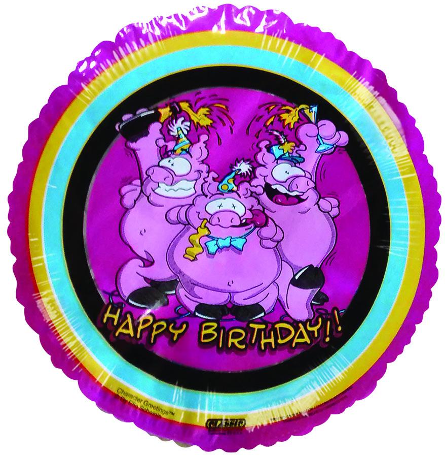 "9""  Airfill Happy Birthday Pigs pink Balloon"
