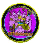 "9""  Airfill It's your Birthday Pigs yellow Balloon"