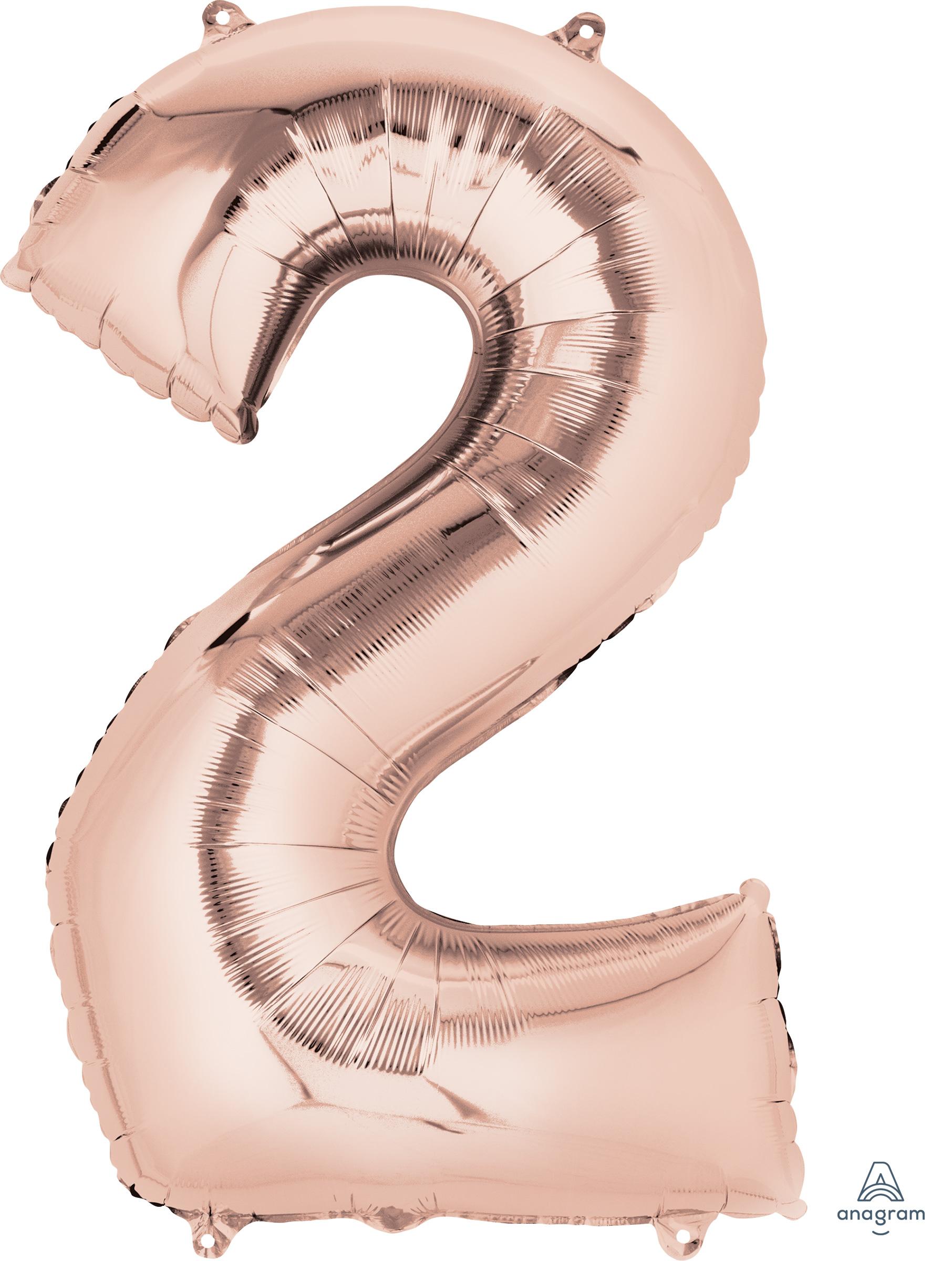 "33"" Jumbo Number 2 Rose Gold Balloon"