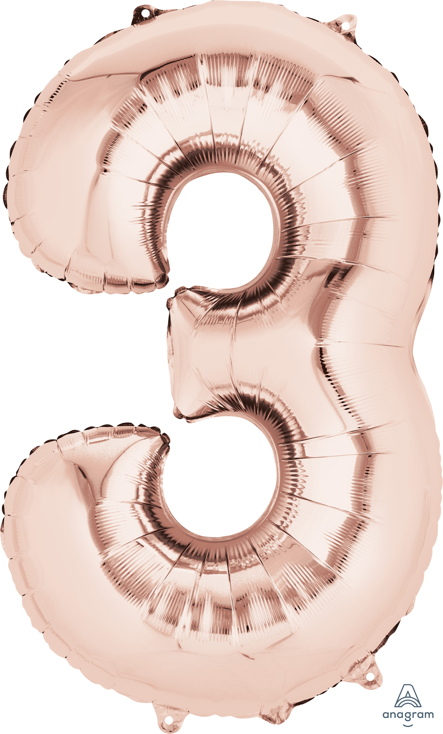 "33"" Jumbo Number 3 Rose Gold Balloon"