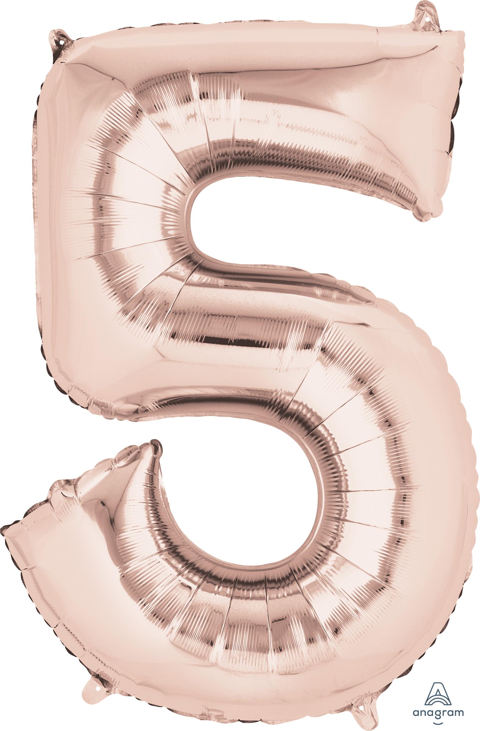 "33"" Jumbo Number 5 Rose Gold Balloon"
