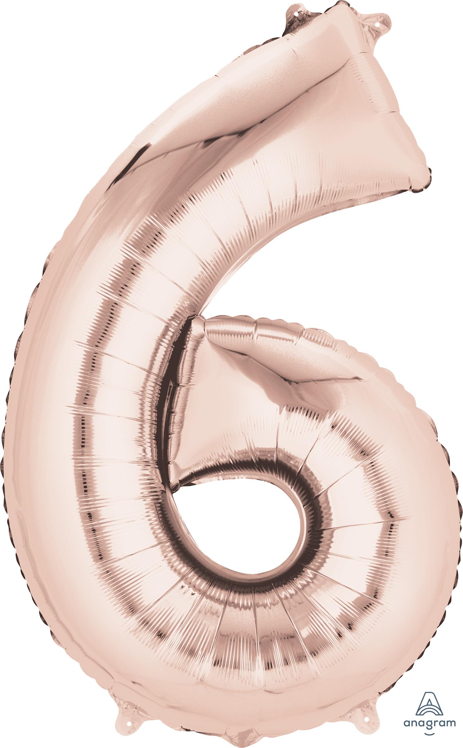"33"" Jumbo Number 6 Rose Gold Balloon"