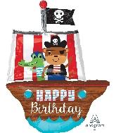 "34"" Jumbo Happy Birthday Pirate Ship Balloon"