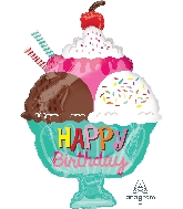 "18"" Ice Cream Sundae Happy Birthday Balloon"