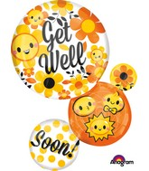 "28"" Jumbo Get Well Bubble Emoticons Balloon"