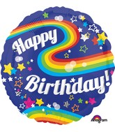"28"" Jumbo HBD Colorful Rainbow Fun Balloon"