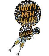 """36"""" Jumbo Happy New Years Champagne Glasses Balloon"""