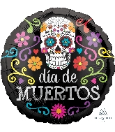 "18"" Colorful Dia De Muertos Balloon"