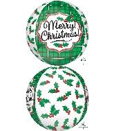 "16"" Orbz Merry Christmas Holly Balloon"