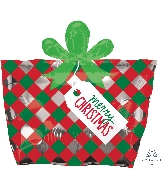 "18"" Junior Shape Xl® Red & Green Present Balloon"