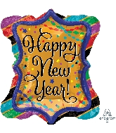 "27"" Jumbo Happy New Years Ruffle Frame Balloon"