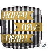 """18"""" Happy New Years Vertical Stripes Balloon"""