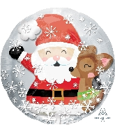 "24"" Insider Santa & Cute Deer Balloon"