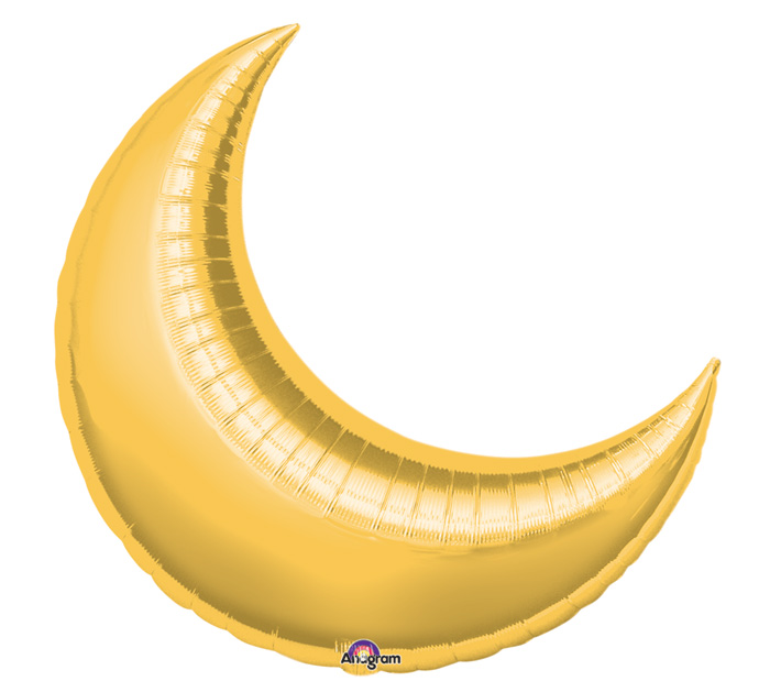 """17"""" Airfill Only Mini Shape Gold Crescent Balloon"""