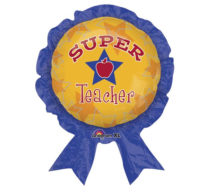 "30"" Super Teacher Balloon Award Ribbon"