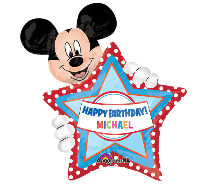 """24"""" Mickey HBD Personalize Jumbo Balloon with stickers"""