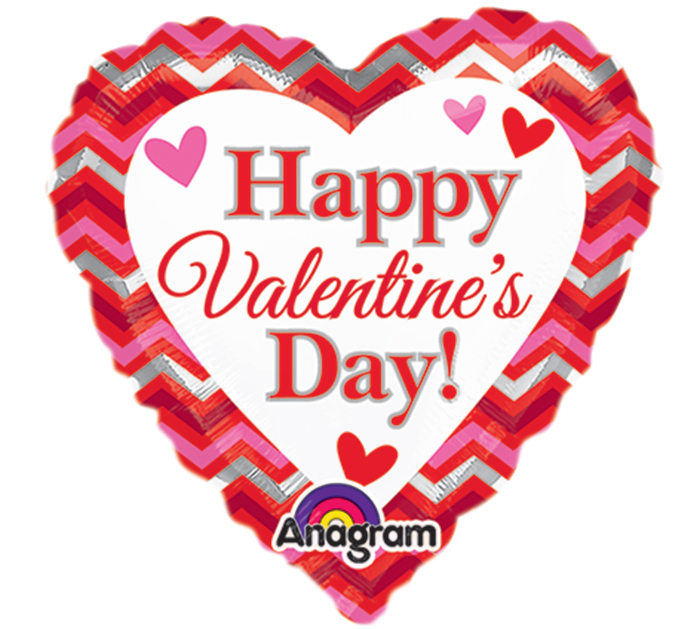 """9"""" Airfill Only Happy Valentines Day Chevron Balloon"""