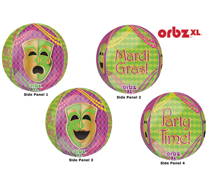 """16"""" Orbz Mardi Gras Party Balloon Packaged"""